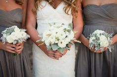 bouquets with ranunculus   Wedding Flowers with Lambs Ear Ivory Ranunculus Bouquets   OneWed.com