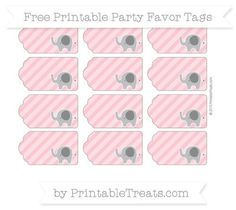 Pastel Pink Diagonal Striped Elephant Party Favor Tags