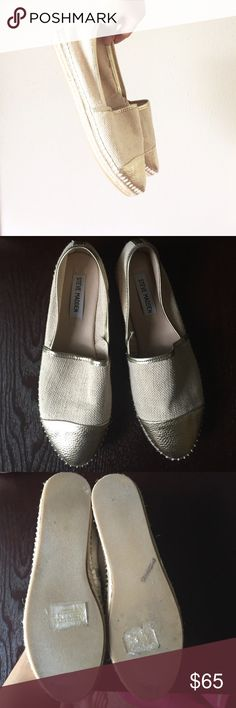 Steve Madden Gold Toe Espadrilles Reposh! Worn once by me! No holes, rips or stains! Main body material is canvas and the toe and trim is gold! So summery and perfect with anything striped. Soles show wear such as scuffs but no damage. There is a name of the previous owner written on them. Exterior is in good condition and shows minimal signs of wear. Steve Madden Shoes Espadrilles