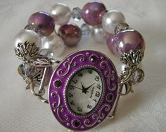 Lavender Purple an Pearl Chunky Beaded Watch Band by BeadsnTime, $30.00