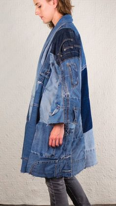 SilkDenim's Oh Yoko Coat Made From Recycled Denim image 1 Fast Fashion, Denim Fashion, High Fashion, Jean Vintage, Vintage Jeans, Denim Ideas, Denim Flares, Recycled Denim, Denim Coat