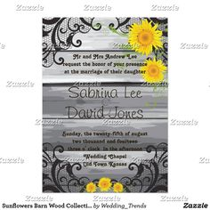 Sunflowers Barn Wood Collection Wedding Invitation