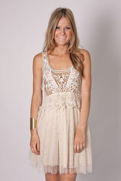 Porscha Lace Tunic Dress - Ivory - I haven't a clue what bra you'd where with this, but then again perhaps you'd just forgo the bra...