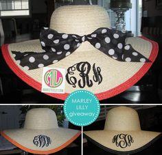 monogrammed floppy beach hats
