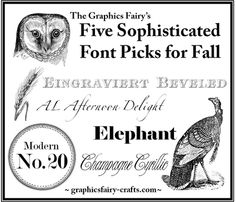 The Graphics Fairy - Crafts: Five Hand Picked Fonts for Fall #Fonts #Thanksgiving