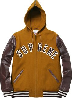 Wool-and-leather varsity jacket with split hood by Supreme