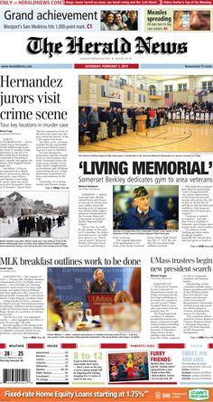 The front page of The Herald News for Saturday, Feb. 7, 2015.
