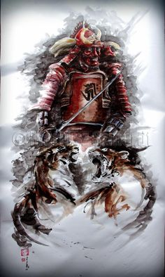 BUSHIDO -  STEEL HARDENING original Japanese handmade watercolor painting art brown grey red Samurai Armor