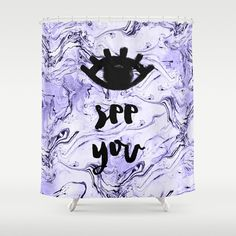 + Eye See You shower curtain. Printed with purple marble like pattern in the background. Evil Eye - All-seeing eye Design. + Available in 2