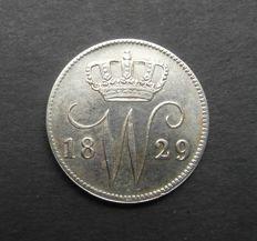 Nederland - 25 cent 1829B Willem I - zilver
