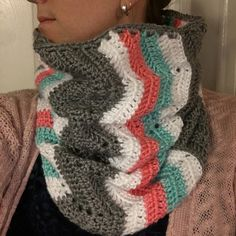 Crocheted gray white teal and coral chevron cowl-scarf  by Teiesi