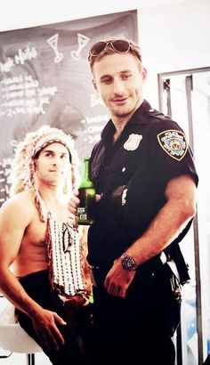 What is this... The Village People?? And easy on those handcuffs, Officer. I won't resist unless that would make it more fun!