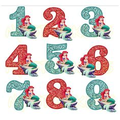 Little mermaid Ariel Birthday Number For Dark or by nysparkles