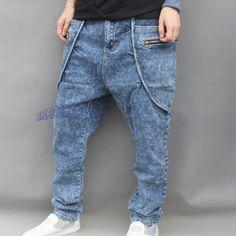 Men Denim Harem Trousers Drop Crotch Baggy Pants Tapered Jeans Casual Fade Blue