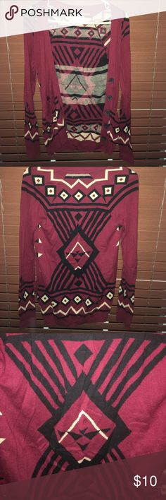 LA HEARTS Aztec cardigan XS Super cute maroon LA HEARTS (pacsun) XS cardigan, long sleeve, with pockets and buttons. Worn few times, no snags or stains! La Hearts Tops