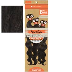 "Bare & Natural Brazilian Natural Body 1 Pack 14/16/18"" - Color NATURAL - Unprocessed Weaving - 6 pcs + closure"