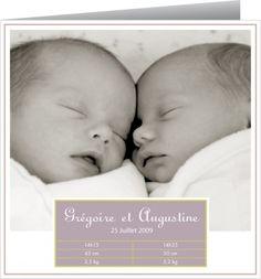 Faire part naissance Jumeaux by Tomoë pour www.fairepartnaissance.fr #rosemood #twins