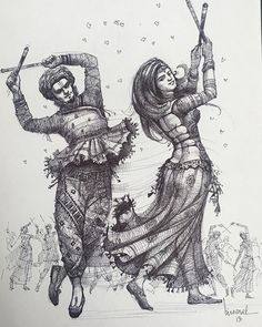 Abstract Pencil Drawings, Art Drawings Sketches Simple, Cute Drawings, Dance Paintings, Indian Art Paintings, Pen Art, Marker Art, Indian Art Gallery, Dancing Drawings