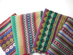 Tribal Fabric, Peruvian Fabric, Woven Aztec Fabric Bundle, 4 Large Pieces