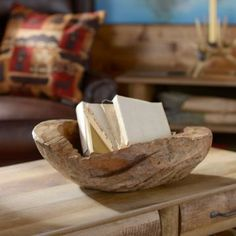 The Teak Wood Decorative Bowl is perfect for storing keys, mail and more! #Kirklands #fallretreat