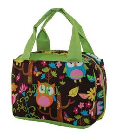 Owl Lime Green Lunch Bag Box With Free by MonogramExpress on Etsy, $19.95
