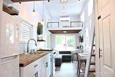 Humble Shack Tiny House on Wheels 3 Tiny House Loft, Tiny House Living, Tiny House On Wheels, Tiny House Design, Shipping Container Home Builders, Slider Window, Shaker Style Cabinets, Sleeping Loft, Butcher Block Countertops
