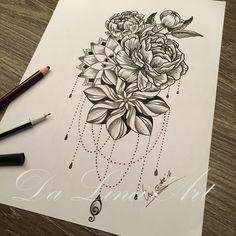 Tattoo Design made by Linda Roos - Da Linci Art dalinciart.nl/fotos/ www.nl Zwijndrecht H Mandala Tattoo Shoulder, Mandala Flower Tattoos, Beautiful Flower Tattoos, Mandala Tattoo Design, Shoulder Tattoo, Tribal Tattoos, Floral Thigh Tattoos, Body Art Tattoos, Family Tattoo Designs