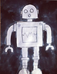 metallic robot on multimedia paper using silver metallic paint, black watercolor in background.  Could paint on black ground?