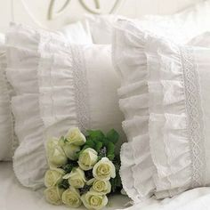 One Piece Shabby Vintage White Embroidery Lace Ruffle Matching Pillowcase 1122 (Standard