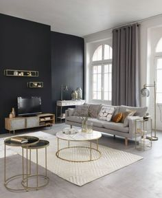 Accent Walls In Living Room, Glam Living Room, Living Room Lamps, Modern Living Room Decor, Condo Living Room, Dining Room, Black And Gold Living Room, Living Room White, Living Room Inspiration