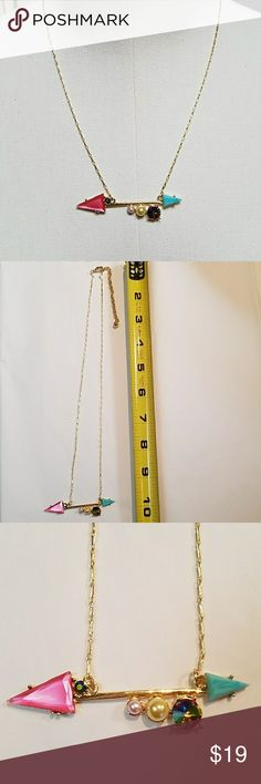 "NIP! Pink and aqua arrow bar gold necklace Arrow bar is 2.75"", 2 pearl and 2 faceted gem accents. Extender on lobster claw clasp Jewelry Necklaces"