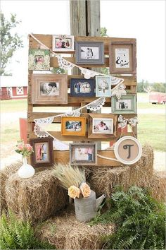 picture wall reception decor / http://www.deerpearlflowers.com/country-rustic-wedding-ideas/