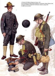 U.S.ARMY - France - 1 Corporal, 5th Marine Regiment, 1917 - 2 First Sergeant, 6th Machinegun Battalion, 2nd Division, Verdun 1918 - 3 Private, 6th Marine Regiment, 2nd Sivision, Verdun 1918 - 4 USMC service button