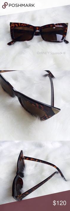 88cc55b0e673 NWT•CAT E Y E➰TORTIOUS SUNGLASSES• NWT •   tRINITY Squared•   Brand new      Comes with sunglasses cleaner     Comes with Case     Tortoise color with  gold ...