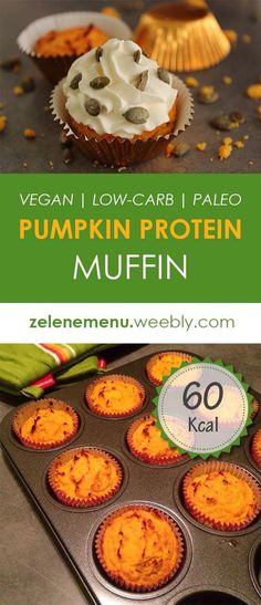 Low carb vegan muffin from pumpkin and coconat flour.