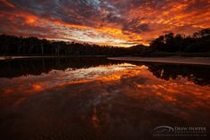 ~ Fire In The Sky ~  Incredible sunset reflections  By Drew Hopper Location: Hearnes Lake - Mid North Coast, NSW Australia