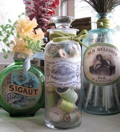 cute idea for upcycling bottles.  Use vintage labels and store whatever you want inside!