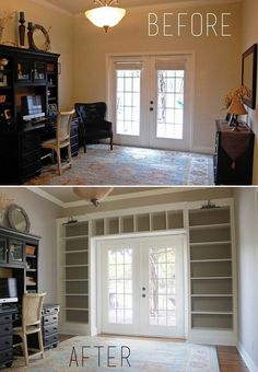 Billy bookcases from Ikea DIY-ed into an impressive built-in.