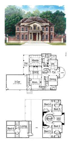 Greek Revival House Plan 72050 | Total Living Area: 3283 sq. ft., 5 bedrooms and 3.5 bathrooms. #greekrevivalhome