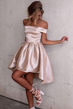 High Low Off-the-Shoulder Pleated Satin Homecoming Dress PG182