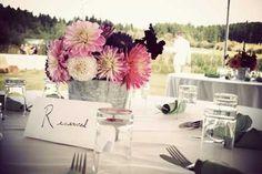 Flowers at Mel & Gus' farm wedding