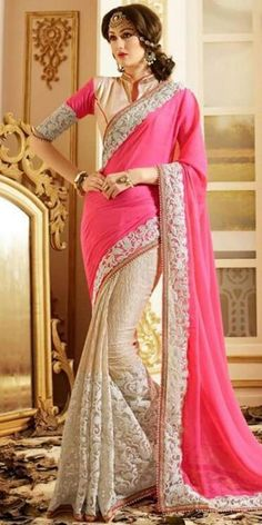 Georgeous Pink And Cream Chiffon Saree With Blouse.