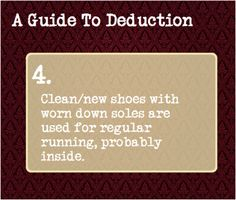 4: Clean/new shoes with worn down soles are used for regular running, probably inside.