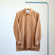 YAECA - Long Pullover Shirt #brown stripe