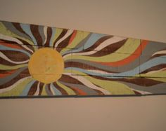 """13"""" x 44"""" pallet sun rays colorful long wood piece"""