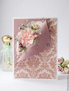 Купить Открытка с изогнутым краем - Открытка ручной работы, открытка на день рождения, открытка для женщины