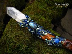 Magic Crystal Wand Recordkeeper Quartz Labradorite Blue Chalcedony Druzy Celtic Pagan Wiccan OTHERWORLD FOREST by Spinning Castle. $477.00, via Etsy.