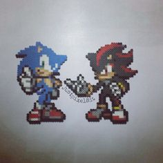 Sonic and Shadow perler beads by justpixel8it