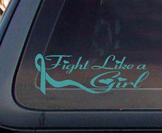 ovarian cancer awareness ribbons | Teal Ribbon Fight Like A Girl Breast Ovarian Cancer Awareness Car ..