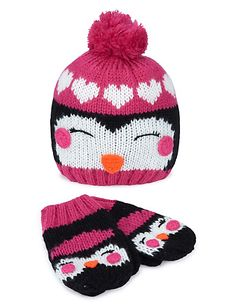Penguin Knitted Beanie Hat & Mittens Set M&S website